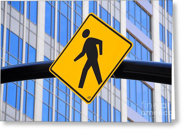 Crosswalk Greeting Cards - Pedestrian Crosswalk Sign in Business District Greeting Card by Gary Whitton
