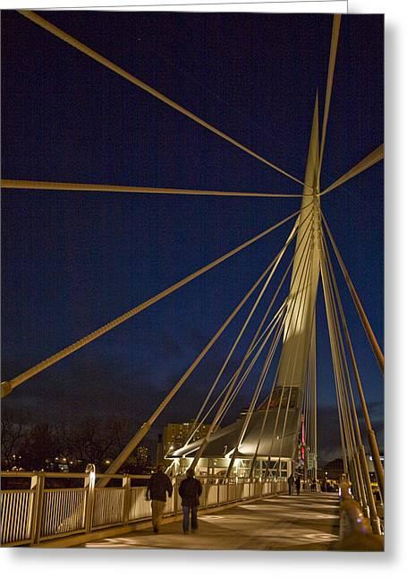 Pedestrians Cross The Modern Bridge Greeting Card by Taylor S. Kennedy
