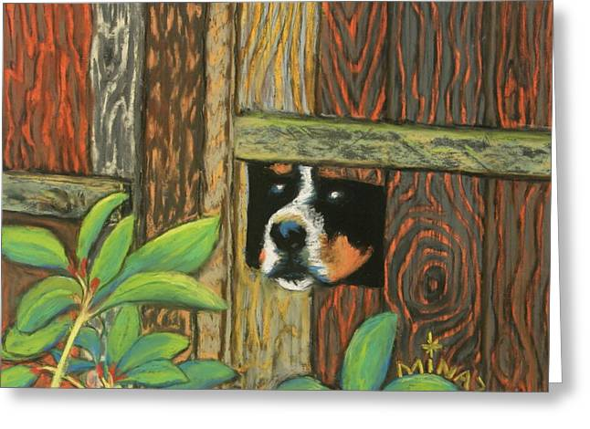 Fence Pastels Greeting Cards - Peek-a-boo Fence Greeting Card by Minaz Jantz