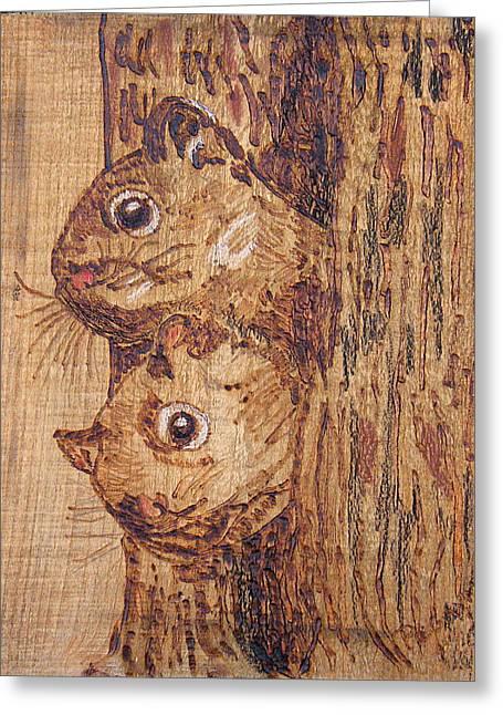 Woodburning Greeting Cards - Peek A Boo Greeting Card by Margaret G Calenda