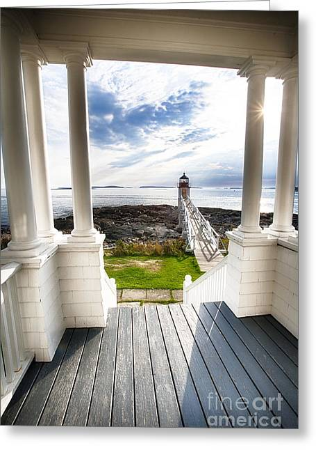 Keepers House Greeting Cards - Peek Out to Sea Greeting Card by George Oze