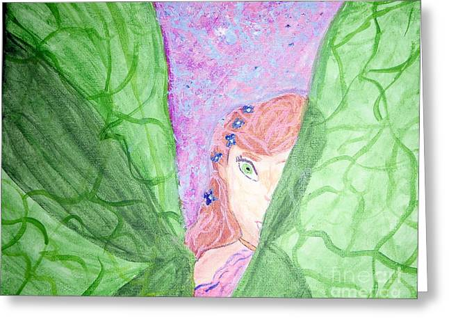 Tinker Bell Greeting Cards - Peeking Fairy  Greeting Card by Elizabeth Arthur