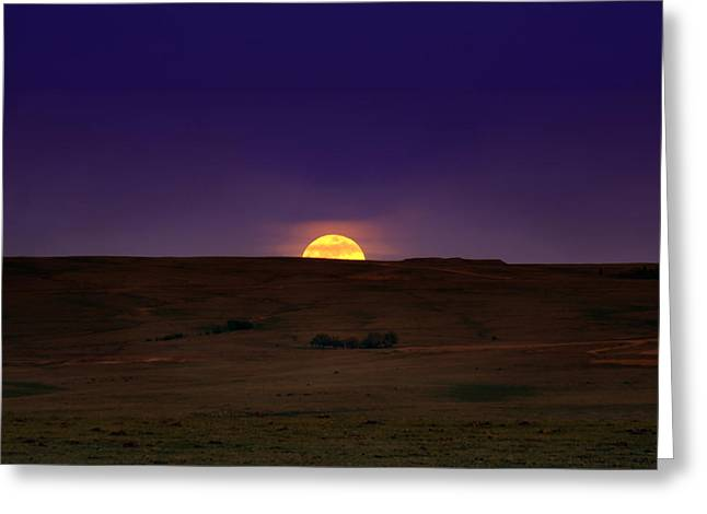 Moon Rise Greeting Cards - Peeking over the Hill Greeting Card by Ellen Heaverlo