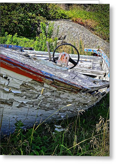 Wooden Ship Greeting Cards - Peeling Away Greeting Card by Steve Hurt