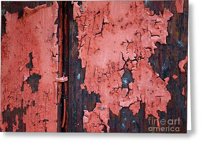 Painted Garden Gate Greeting Cards - Peeling Red Paint Greeting Card by Gwyn Newcombe