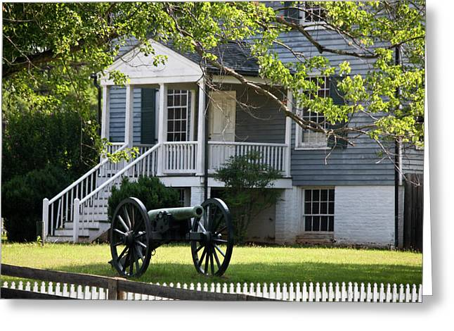 April 9 1865 Greeting Cards - Peers House and Cannon Appomattox Court House Virginia Greeting Card by Teresa Mucha