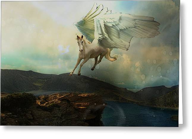 Pegasus Flying Horse Greeting Card by Patricia Ridlon