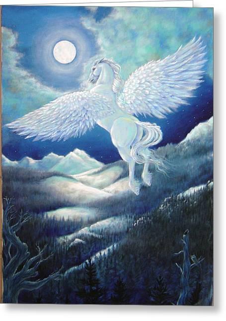 Pegasus Paintings Greeting Cards - Pegasus Greeting Card by Heather Calderon