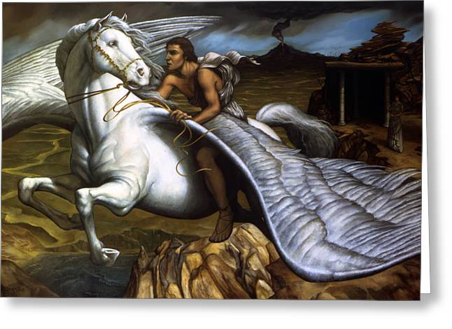 Pegasus Paintings Greeting Cards - Pegasus Greeting Card by Jane Whiting Chrzanoska