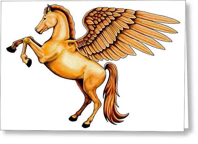 Colour Pencil Greeting Cards - Pegasus Greeting Card by Sheryl Unwin