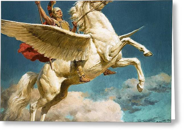 Staff Paintings Greeting Cards - Pegasus The Winged Horse Greeting Card by Fortunino Matania
