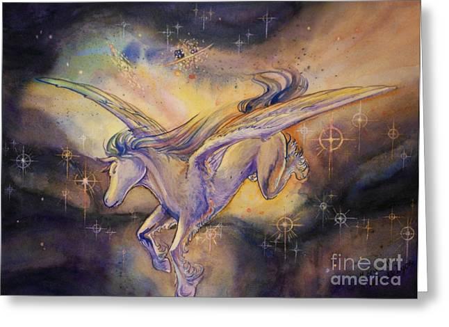 Arwen Greeting Cards - Pegasus with Nebula Greeting Card by Arwen De Lyon