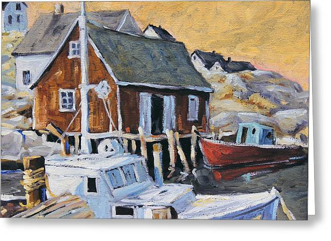 Lighthouse By The Ocean Greeting Cards - Peggy s Cove 01 by Prankearts Greeting Card by Richard T Pranke