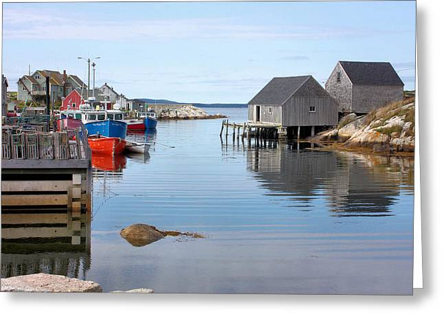 Lobster Pot Greeting Cards - Peggys Cove Greeting Card by Kristin Elmquist