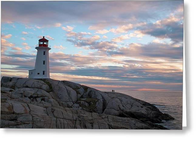 Halifax Photography Halifax Nova Scotia Greeting Cards - Peggys Cove Lighthouse at Dusk Greeting Card by Andre Distel
