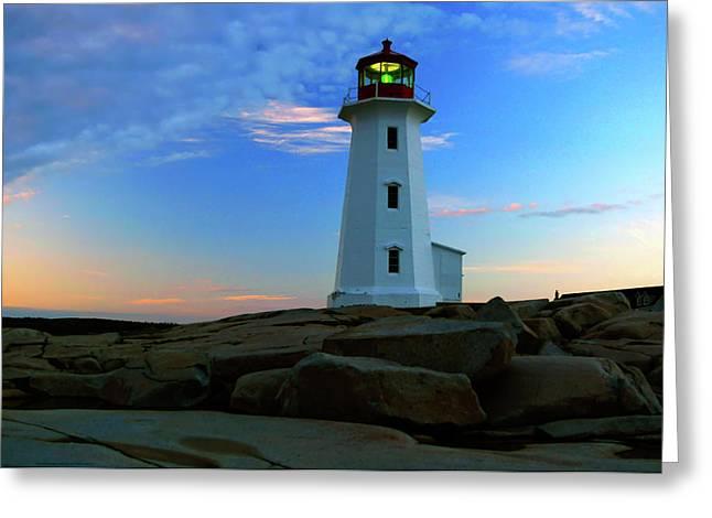 Nova Scotia Greeting Cards - Peggys Cove Lighthouse at Sunrise Greeting Card by Rick Berk