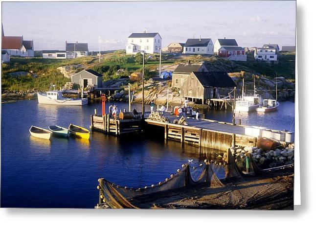 Docked Boats Greeting Cards - Peggys Cove, Nova Scotia Greeting Card by David Chapman