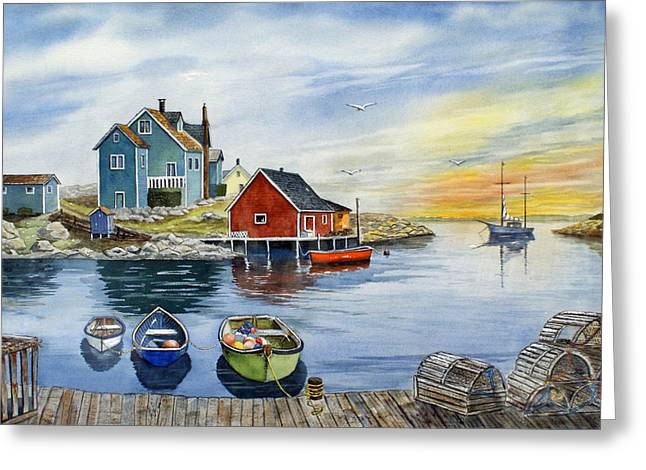 Fishing Village Greeting Cards - Peggys Cove  Greeting Card by Raymond Edmonds