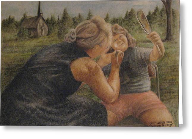 Picnic Pastels Greeting Cards - Peinture de Visage Greeting Card by Larry Whitler