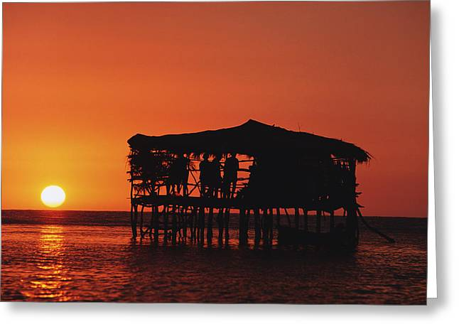 Jamaican Sunsets Greeting Cards - Pelican Bar At Sunset Greeting Card by Axiom Photographic