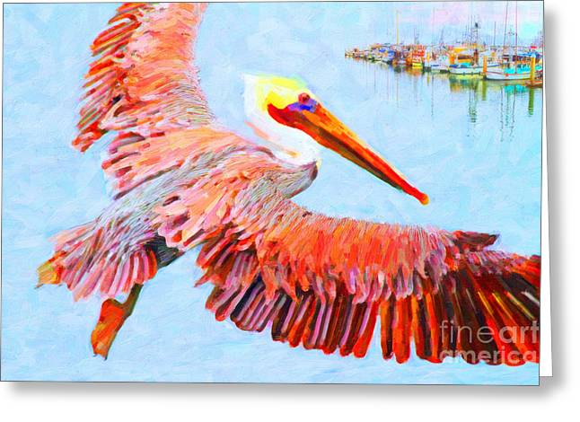 Half Moon Bay Greeting Cards - Pelican Flying Back To The Docks Greeting Card by Wingsdomain Art and Photography