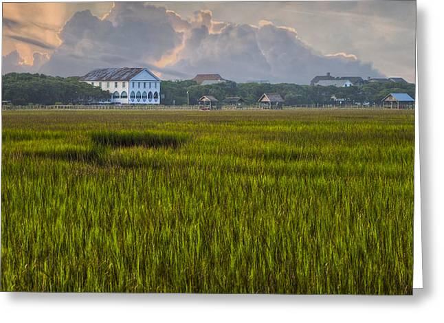 Pelican Inn Sunrise Greeting Card by Ginny Horton