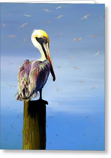 Suni Roveto Greeting Cards - Pelican Perch Greeting Card by Suni Roveto