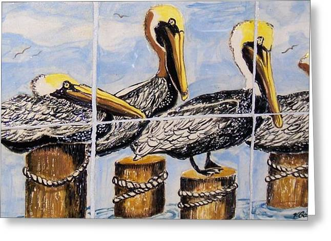 Beach House Ceramics Greeting Cards - Pelicans Greeting Card by Victoria Kader