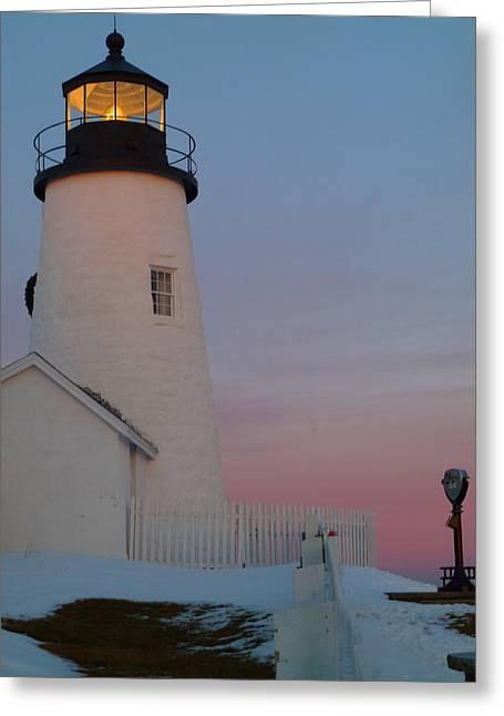 Pemaquid Light House On January 1 Photo Greeting Card by Merridy Jeffery