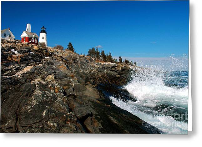 New England Lighthouse Greeting Cards - Pemaquid Point Lighthouse - seascape landscape rocky coast Maine Greeting Card by Jon Holiday