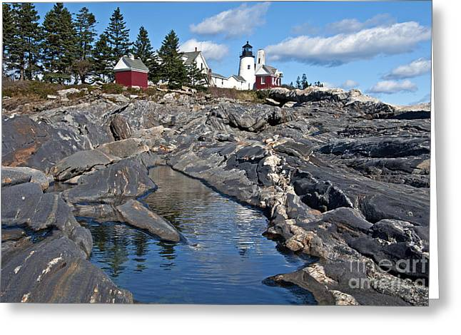 Old Maine Houses Greeting Cards - Pemaquid Point Lighthouse Maine 8 Greeting Card by Glenn Gordon