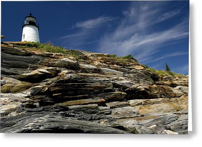 Downeast Greeting Cards - Pemaquid Point Lighthouse Greeting Card by Rick Berk