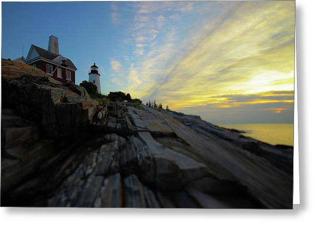 Coastal Lighthouses Greeting Cards - Pemaquid Sunrise Greeting Card by Rick Berk
