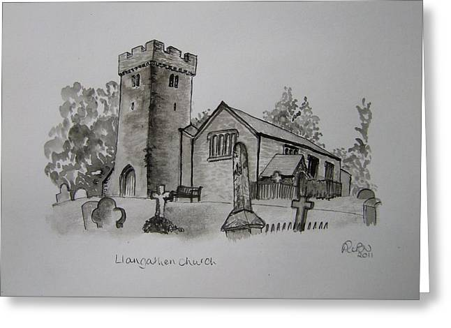 Pen And Ink-llangathen Church-01 Greeting Card by Pat Bullen-Whatling