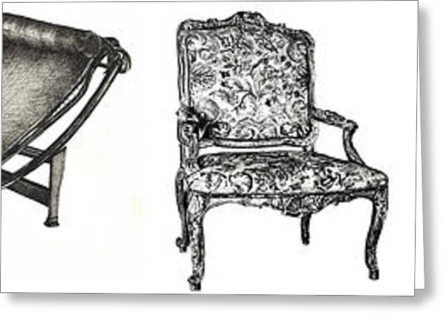 Chaise Drawings Greeting Cards - Pen and ink poster of chairs Greeting Card by Lee-Ann Adendorff