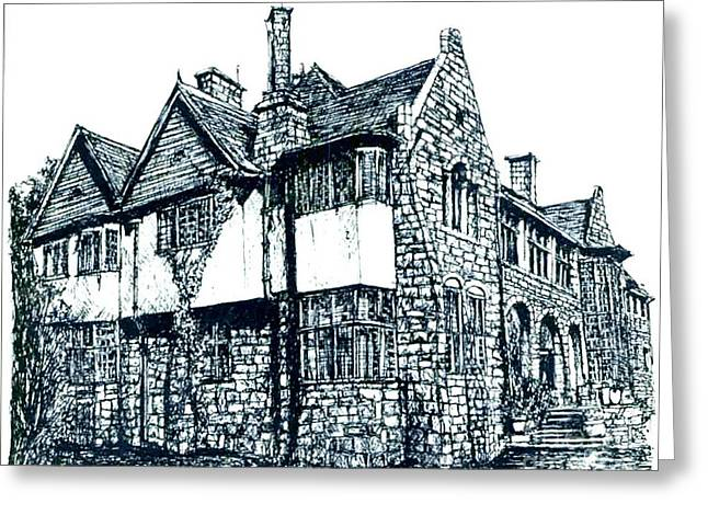 Stone House Drawings Greeting Cards - Pen and Ink stone house  Greeting Card by Lee-Ann Adendorff