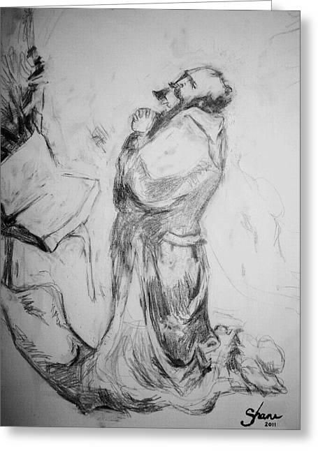 Pencil Of Praying Through The Ages Greeting Card by Bruce Shane