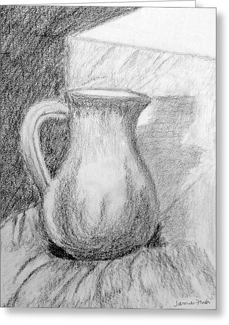 Jugs Drawings Greeting Cards - Pencil Pitcher Greeting Card by Jamie Frier
