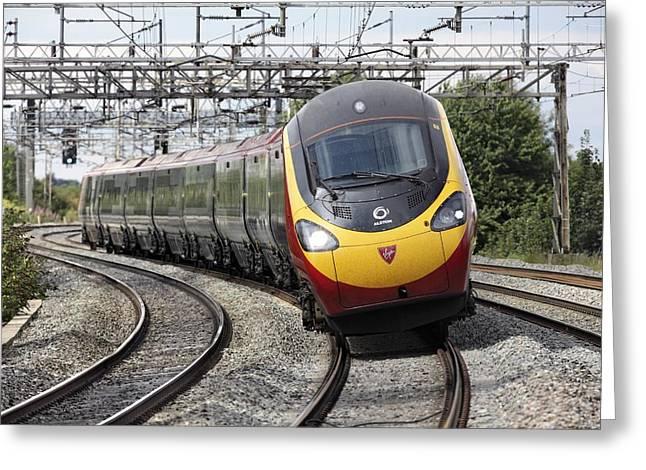 Upgrade Greeting Cards - Pendolino Tilting Train Greeting Card by Martin Bond
