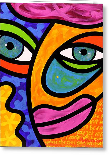 Abstract Faces Greeting Cards - Penelope Peeples Greeting Card by Steven Scott