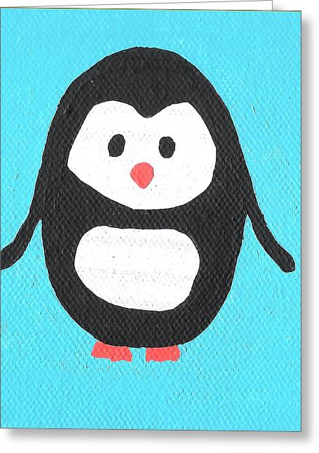 Toon Greeting Cards - Penguin Greeting Card by Jera Sky