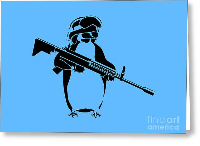 Innocence Greeting Cards - Penguin soldier Greeting Card by Pixel Chimp