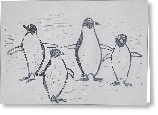 Penguins Greeting Card by Tina M Wenger