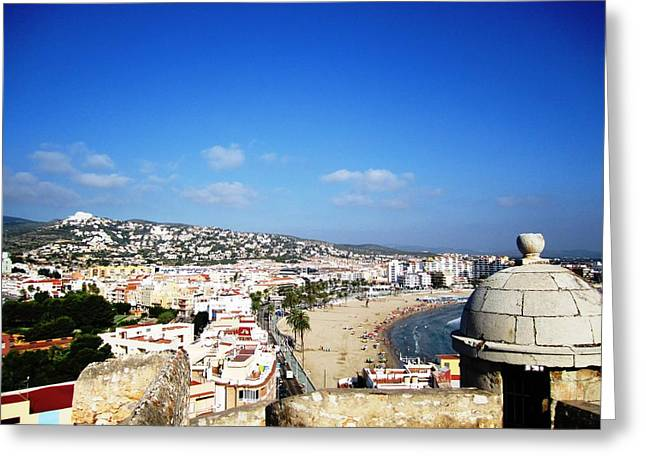 Peniscola Beach Castle Sea View At The Mediterranean Water Front Homes In Spain Greeting Card by John Shiron