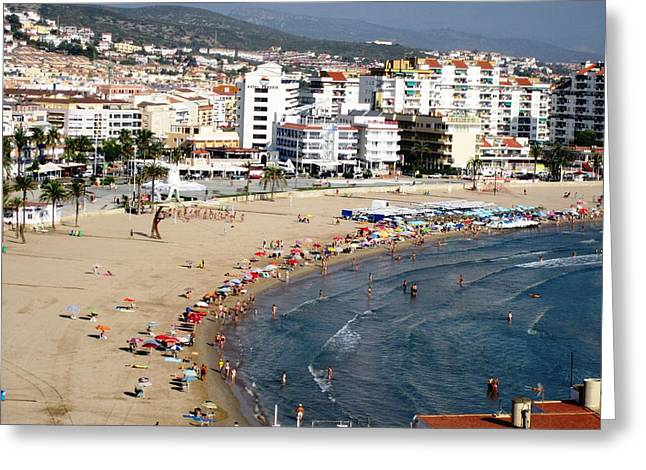 Peniscola Beach Sea View Waterfront Swimmers At The Mediterranean In Spain Greeting Card by John Shiron
