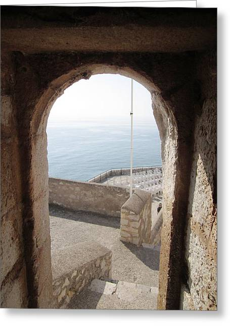 Peniscola Castle Arched Open Doorway Sea View At The Mediterranean In Spain Greeting Card by John Shiron
