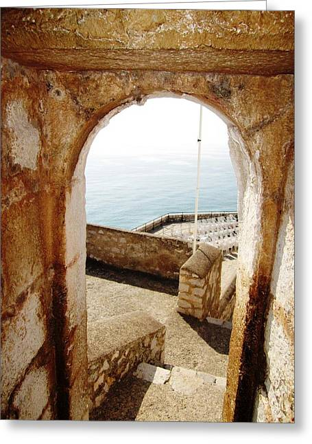 Peniscola Castle Arched Open Doorway Sea View II At The Mediterranean In Spain Greeting Card by John Shiron