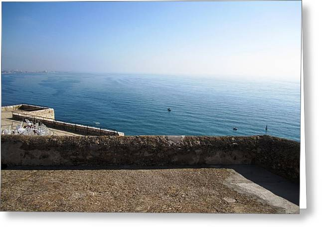 Peniscola Castle Ocean View In Spain Greeting Card by John Shiron