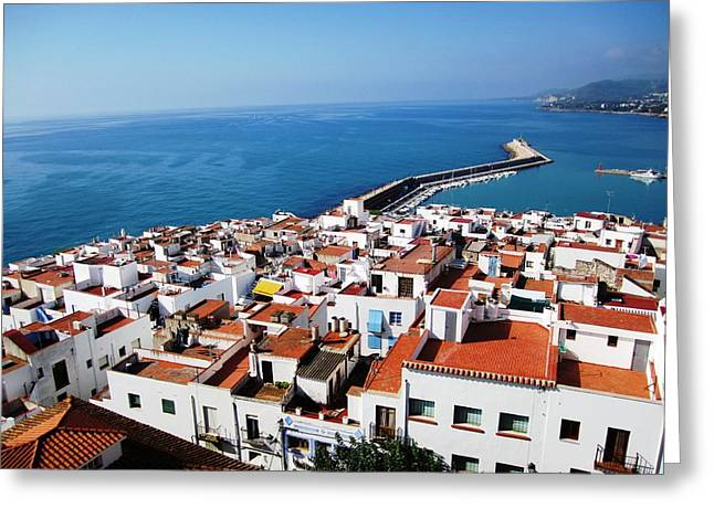 Peniscola Ocean View Homes By The Marina Harbor Break Water In Spain Greeting Card by John Shiron