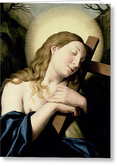 The Wooden Cross Greeting Cards - Penitent Magdalene Greeting Card by Il Sassoferrato